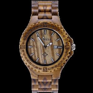 MEKU Handmade Wooden Wrist Watches Quartz with Solid Natural Zebrawood + Date Calendar 1