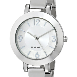 Nine West Women's NW-1631SVSB Silver-Tone Sunray Dial and Bangle Watch 6