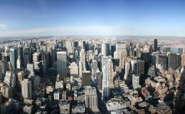Aerial panoramic view over Manhattan, New York