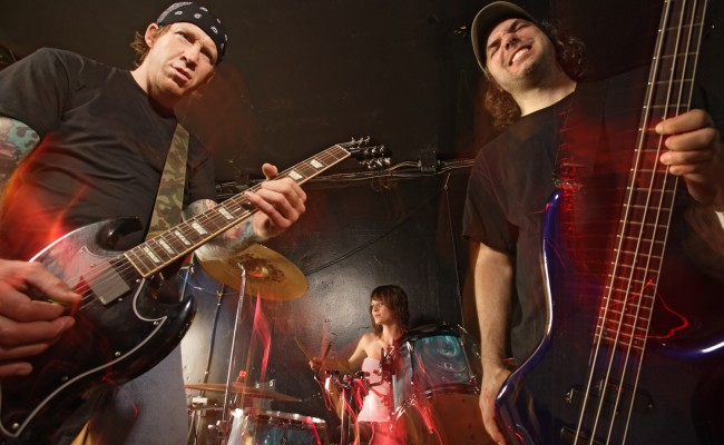 Rock band performing