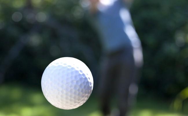 A golf ball in flight